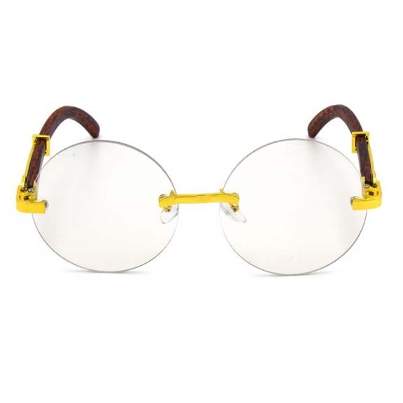 CLEAR LENS FRAMELESS STEAMPUNK FEEL GLASSES.