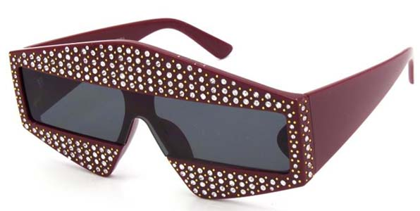 BOLD SUNGLASSES WITH CLEAR GEMS , ASSORTED COLOR FRAMES