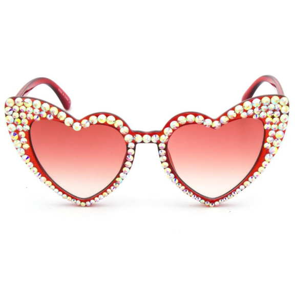 HEART SHAPE COLORFUL SUNGLASSES WITH GEMS