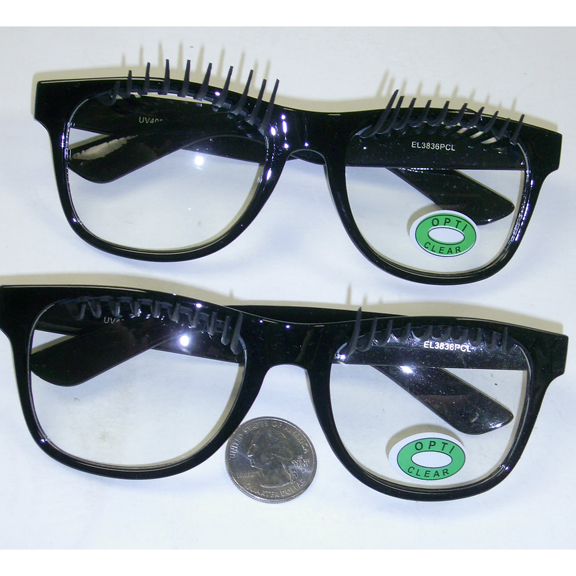 CLEAR LENS CLASSIC SHAPE GLASSES WITH PLASTIC LARGE EYE LASHES