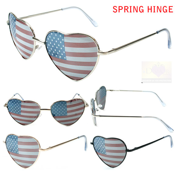HEART SHAPE SUNGLASSES WITH FLAG LENS