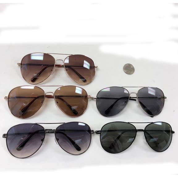 AVIATOR SUNGLASSES ASSORTED DARK LENS, A BIT LARGER THAN CLASSIC