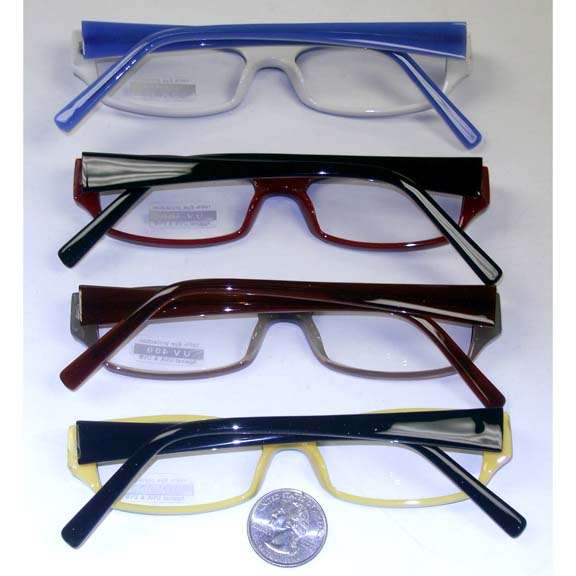 CLEAR LENS GLASSES, BACK OF FRAMES DIFFERENT COLOR