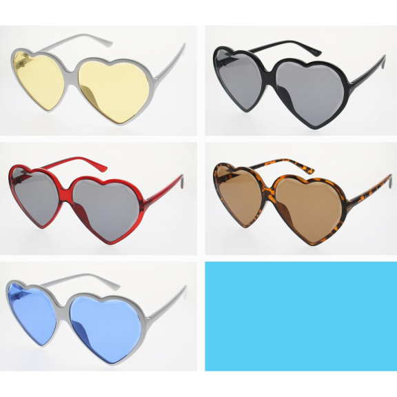 HEART SHAPE SUNGLASSES, BEVELED EDGED LENS, ASSOTED COLORS