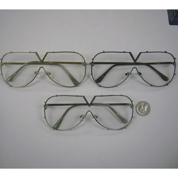 CLEAR LENS METAL FRAME, ALMOST FLAT FRAMES, FUNKY GLASSES