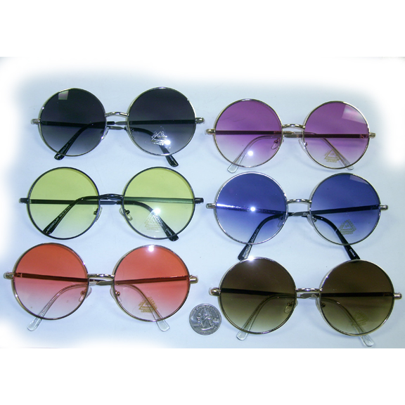 JANIS SIZE SUNGLASSES, COLOR LENS THAT FADE LIGHTER, FLAT FRAMES