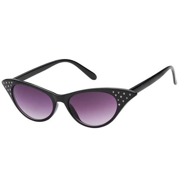 CAT EYE SUNGLASSES WITH RHINESTONE LOOK, BLACK FRONT/COLOR BACK