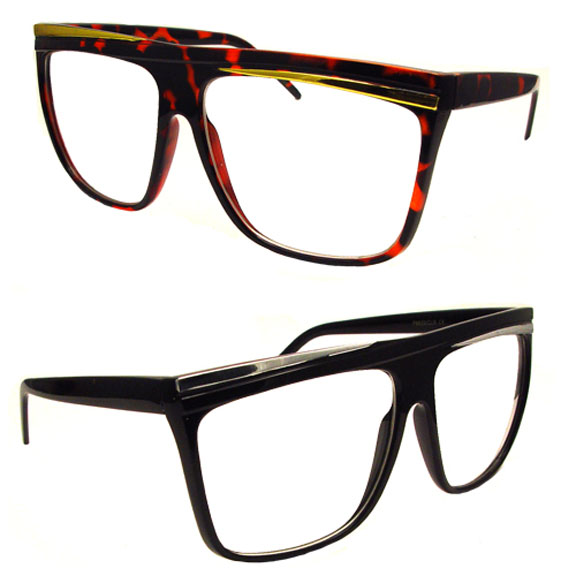 CLEAR LENS HIP FRAMES 80'S FLAIR, TOP SLANT LINE SUNGLASSES,