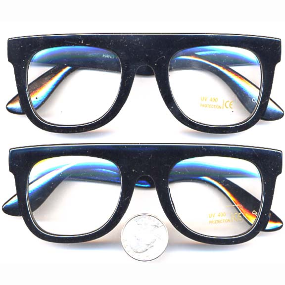 CLEAR LENS BLACK FRAME THICK, FLAT SUNGLASSES
