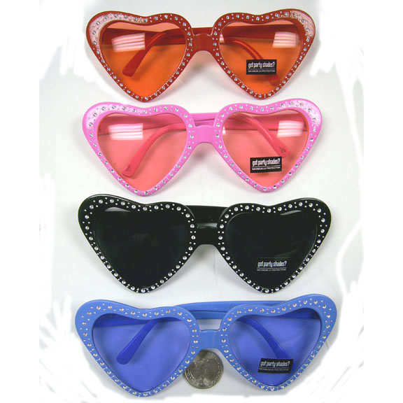 HEART SUNGLASSES WITH RHINESTONE ILLUSION LOOK 4 COLORS