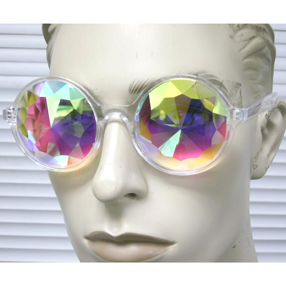 KALIEDOSCOPE  GEM CUT THICK IRIDESCENT LENS ROUND CLEAR FRAMES