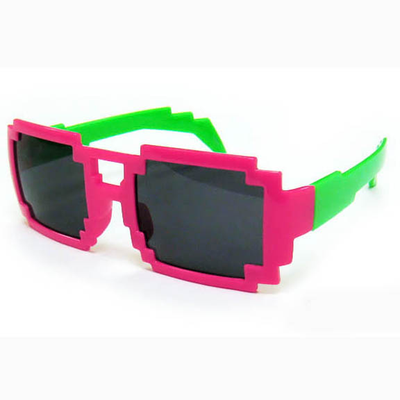 PIXEL SHAPE SUNGLASSES, 2 BRIGHT COLORS TOGETHER TOP & BOTTOM