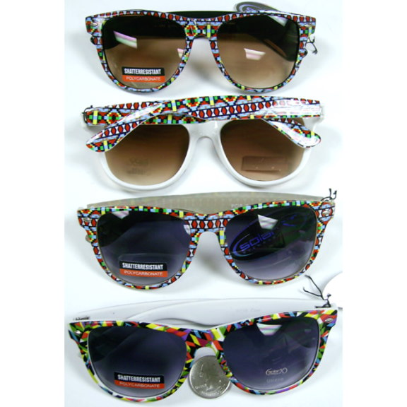 BLUES BROTHERS FRAMES COLORFUL PATTERNED PRINT SUNGLASSES