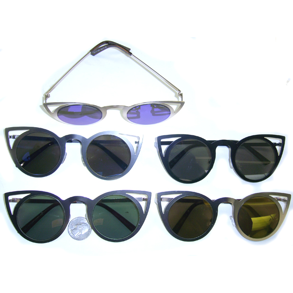CAT SHAPE FLAT FRAMES WITH REVO LENS BLACK, GOLD, SILVER FRAMES