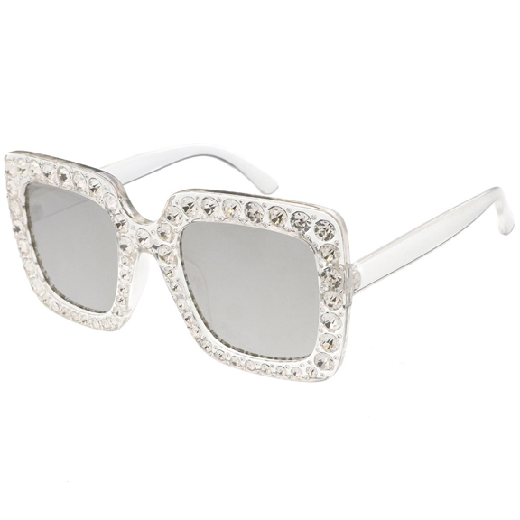 POP STAR LOOK GEMS COVERED FRONT SUNGLASSES