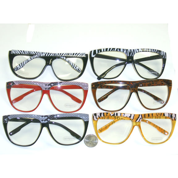 CLEAR LENS GLASSES ASSORTED COLORS, SNAKE/ZEBRA PRINT TOP