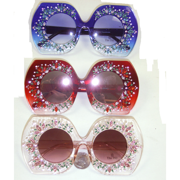 LARGE FRAME WITH GEMS COOL FUNKY SUNGLASSES