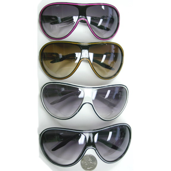 AVIATOR PLASTIC WRAP AROUND LARGE LINED SUNGLASSES
