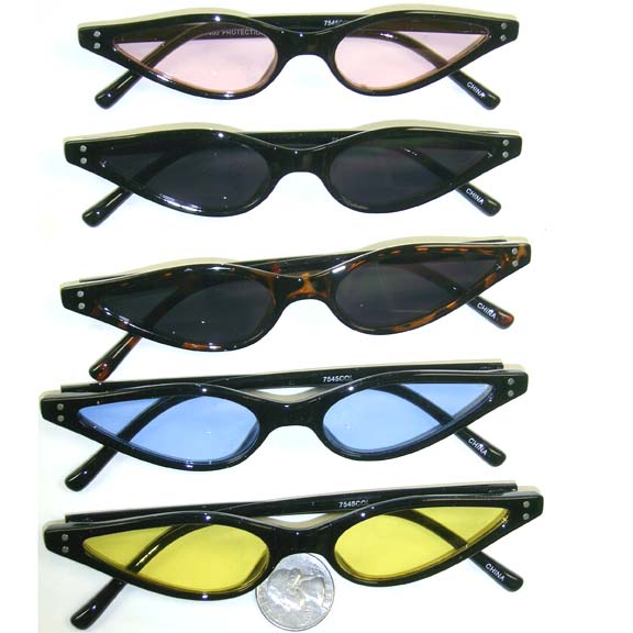 THIN CAT EYE FRAMES IN ASSORTED COLOR LENSES