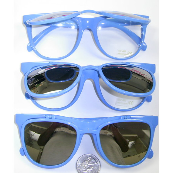 BLUE FLIP UP SUNGLASSES WITH REVO LENS