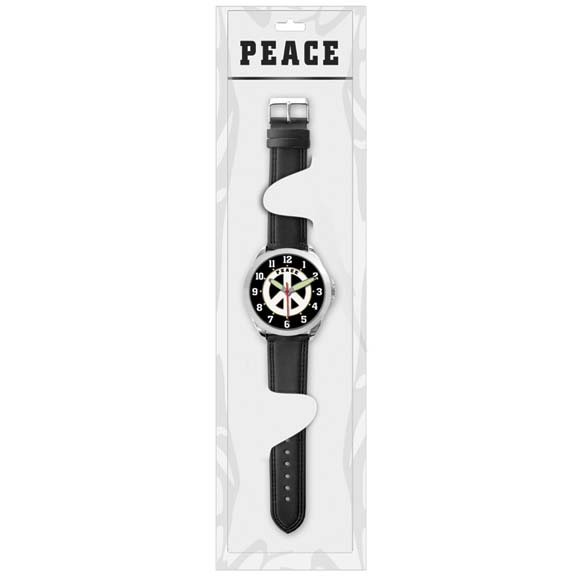 PEACE SIGN WATCH LEATHER BAND