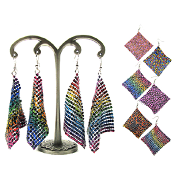 MESH EARRINGS IN ASSORTED FUNKY  ANIMAL STYLE PRINTS, 1 DZ LEFT
