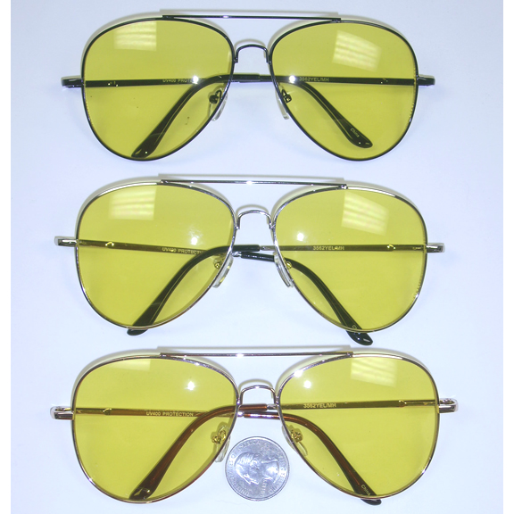 AVIATOR SUNGLASSES A BIT LARGER WITH YELLOW LENS, SPRING TEMPLES