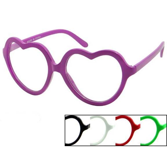 CLEAR LENS HEART SHAPE GLASSES, ASSORTED COLOR FRAMES