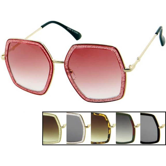 DESIGNER STYLE SUNGLASSES WITH METAL ARMS
