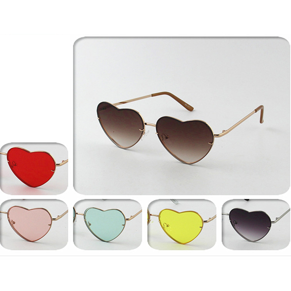 HEART SHAPE FARMES IN ASSORTED COLORS WITH METAL ARMS SUNGLASSES