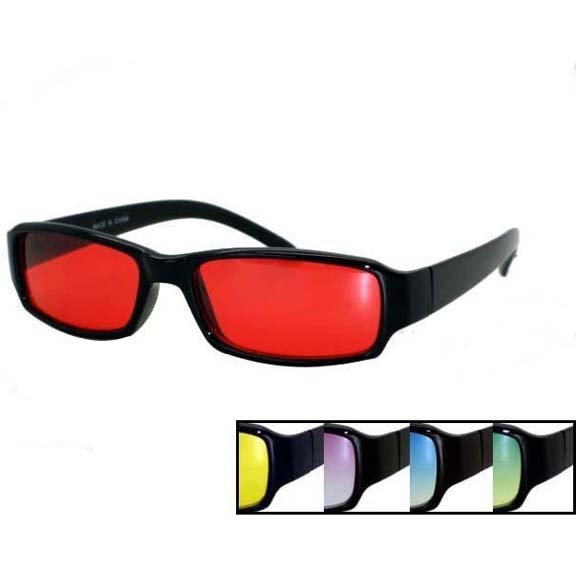 5 ASSORTED COLOR LENS THIN BLACK PLASTIC FRAMES SUNGLASSES