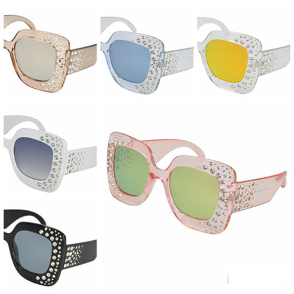 GEM FRONT AND SOME ON ARMS ASSORTED LENS SUNGLASSES