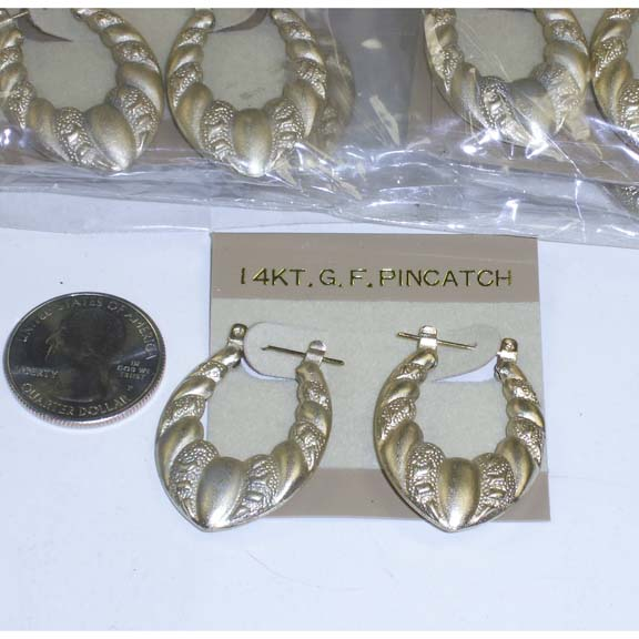 14KT GOLD PINCATCH EARRING, 1 DZ ONLY IN STOCK