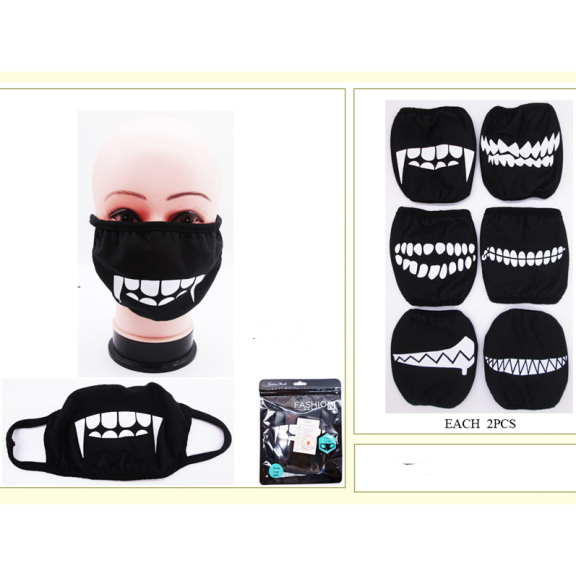 BLACK FACE MASK, ASSORTED PRINTS FANGS