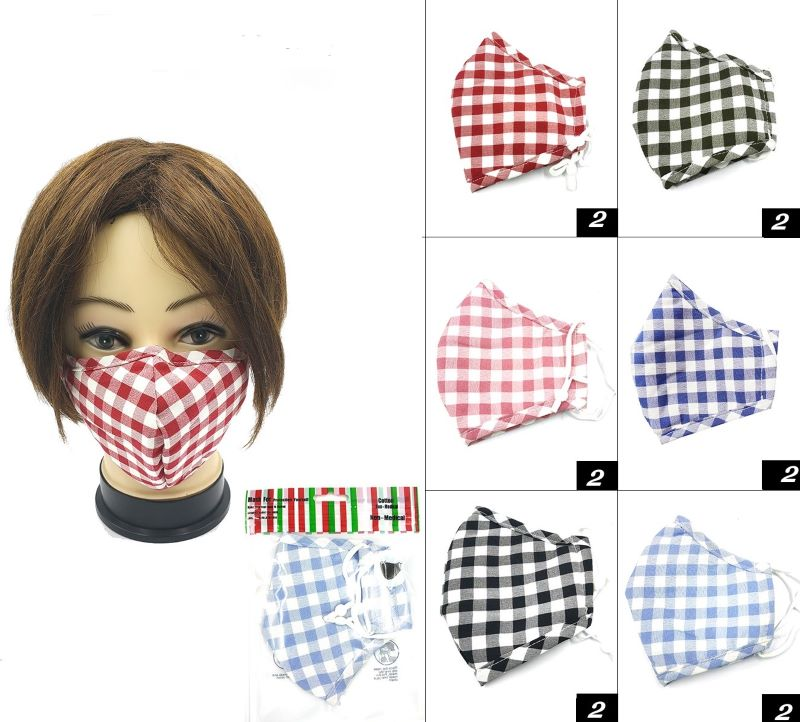 FACE MASK, COTTON,  REUSABLE, WASHABLE, NO LATEX