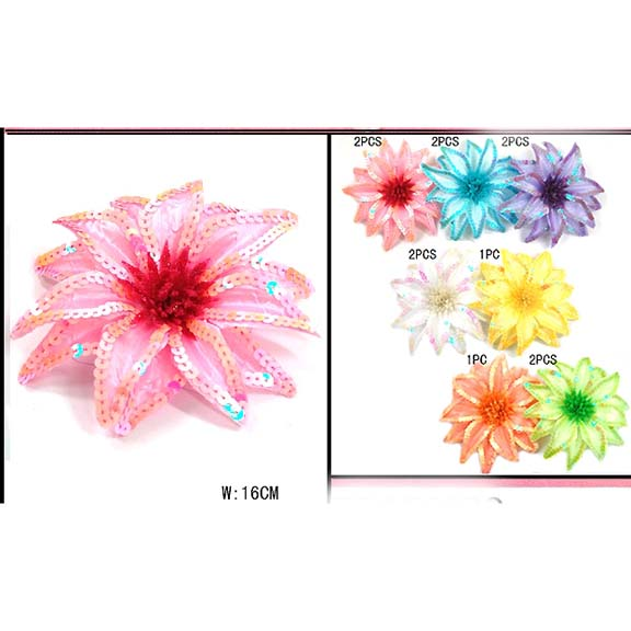 FLOWER HAIR CLIP ASSORTED COLORS, 6.3 INCH DIAMETER