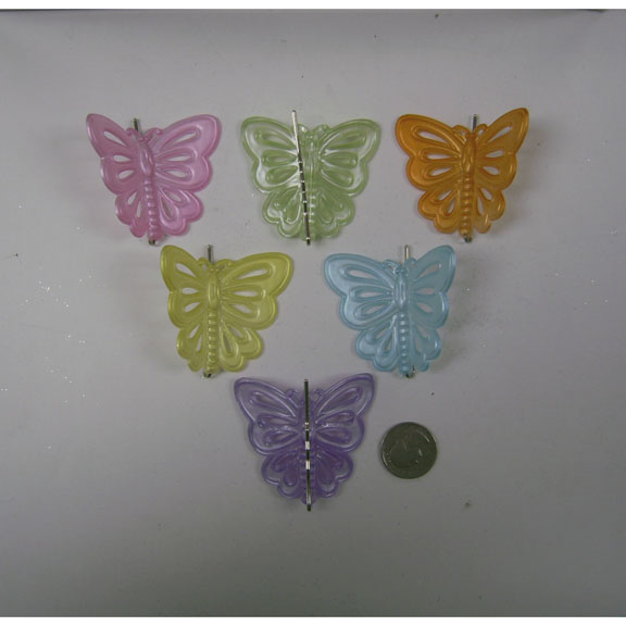 BUTTERFLY  ASSORTED COLORS ON A HAIR PIN, COMES 12 ON A CARD