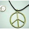 LEAD FREE PEACE SIGN(GOLD)ON A BLACK LEATHER CORD