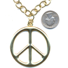 LEAD FREE PEACE SIGN NECKLACE HIPPIER IN GOLD ON A CHAIN