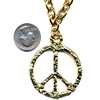 LEAD FREE PEACE SIGN ENGRAVED GOLD NECKLACE ON A CHAIN