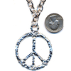 LEAD FREE PEACE SIGN ENGRAVED SILVER NECKLACE
