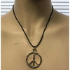LEAD FREE PEACE SIGN, GOLD COLOR ON A CORD NECKLACE