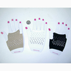 WHITE, BEIGE FINGERLESS GLOVES WITH SILVER COLOR STUD LOO