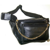 GOLD CHAIN FRONT, BLACK FAUX LEATHER FANNY BAG