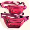 CLEAR-PINK COLORFUL 3 ZIPPER FANNY PACKS