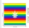 BANDANNA, RAINBOW STRIPE WITH WHITE POT LEAF