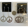 PEACE SIGN EARRINGS ALL SILVER COLOR, METAL