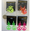 PEACE SIGN EARRINGS IN NEON, LIMITED STOCK, METAL