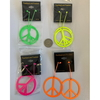 PEACE SIGN LARGE NEON EARRINGS, 1 DZ LEFT