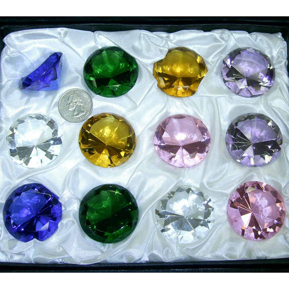 GLASS  DIAMOND CUT CRYSTAL IN ASSORTED COLORS